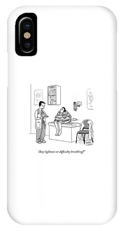 Any Tightness Or Difficulty Breathing? IPhone X Case featuring the drawing Any Tightness? by Sofia Warren