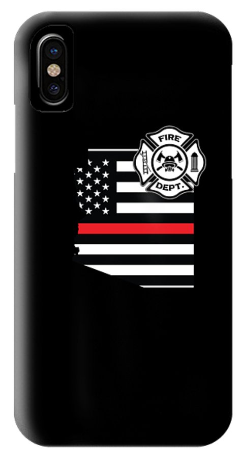 Firefighter-appreciation IPhone X Case featuring the digital art Arizona Firefighter Shield Thin Red Line Flag by Jean-Baptiste Perie
