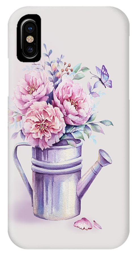Watercolour Peony IPhone X Case featuring the painting Pink Peonies Blooming Watercolour by Georgeta Blanaru