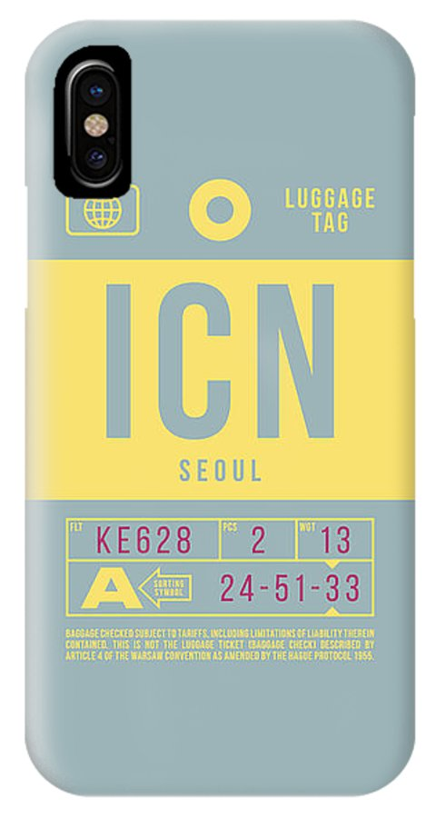 Airline IPhone X Case featuring the digital art Retro Airline Luggage Tag 2.0 - Icn Seoul Korea by Ivan Krpan