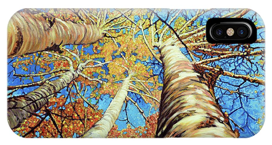 Aspens IPhone X Case featuring the painting Aspens in Colorado by John Lautermilch