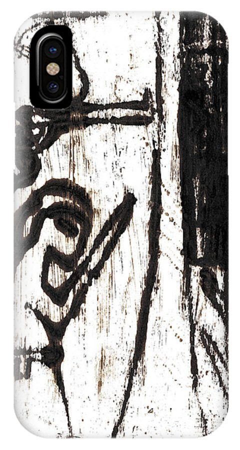 Assassin IPhone X Case featuring the painting Assassin After Mikhail Larionov Black Oil Painting 10 by Artist Dot
