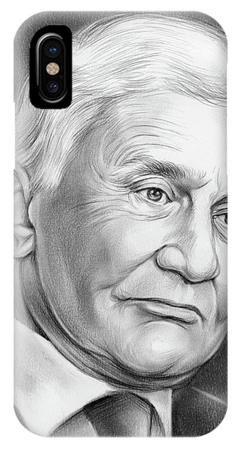 Astronaut IPhone X Case featuring the drawing Astronaut Buzz Aldrin by Greg Joens