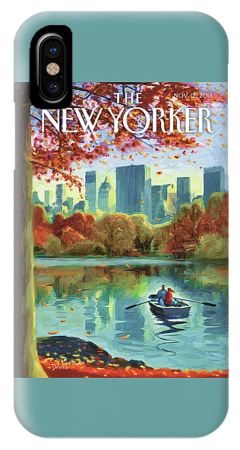 Autumn Central Park IPhone X Case featuring the drawing Autumn Central Park by Eric Drooker