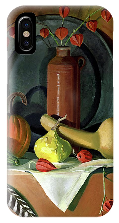 Still Life IPhone X Case featuring the painting Autumn Still Life by Nancy Griswold