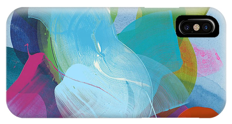 Abstract IPhone X Case featuring the painting Away A While by Claire Desjardins