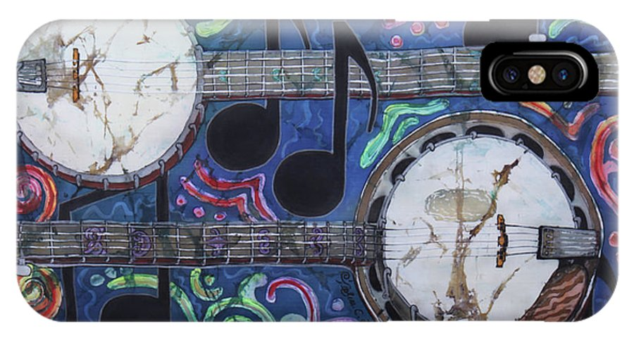 Banjos IPhone X Case featuring the painting Banjos by Sue Duda