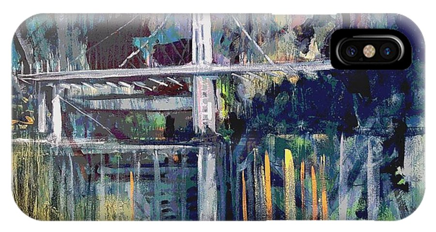 Bay Bridge IPhone X Case featuring the painting Bay Bridge by Kurt Hausmann