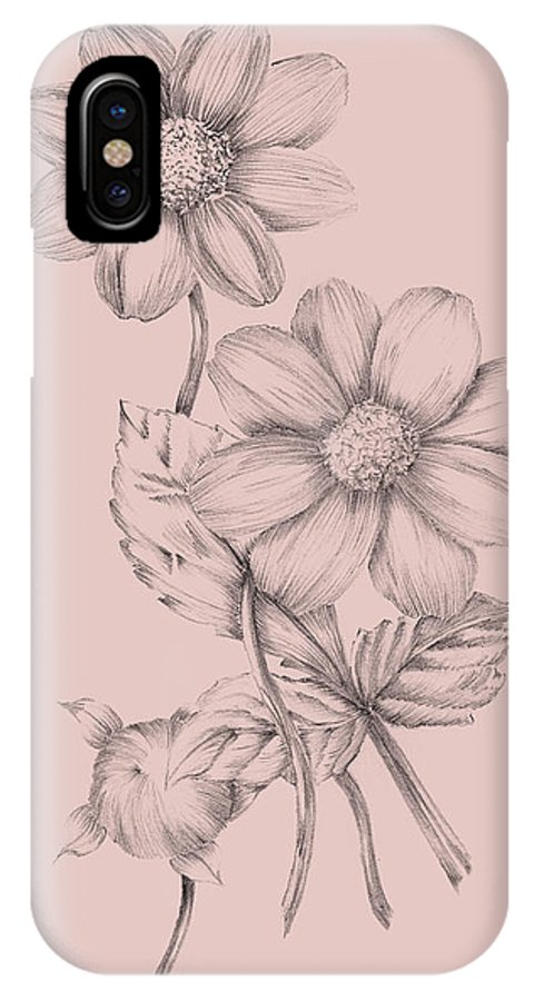 Flower IPhone X Case featuring the mixed media Blush Pink Flower Sketch by Naxart Studio