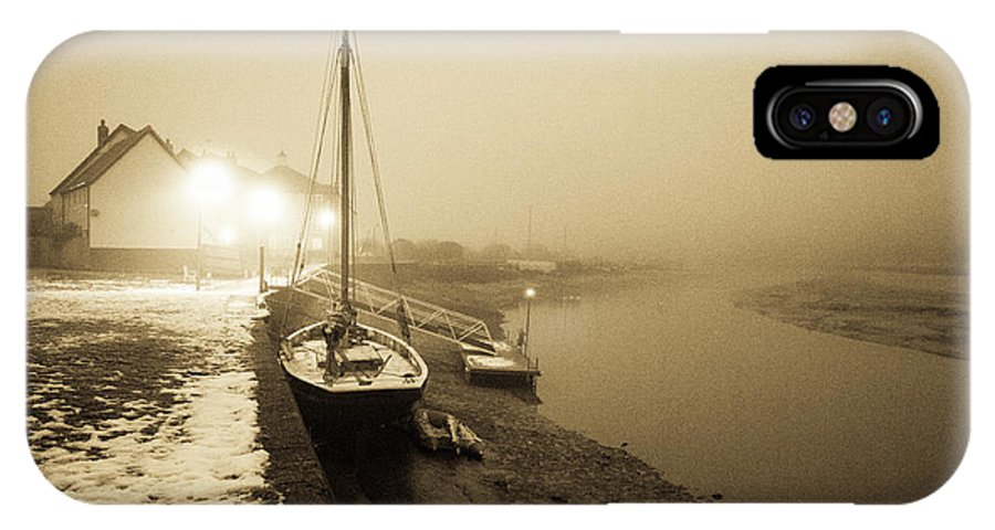 Essex IPhone X Case featuring the photograph Boat On Wintry Quay by Gary Eason