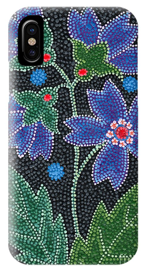 Native American IPhone X Case featuring the painting Native American Floral Beadwork, Blue by Chholing Taha