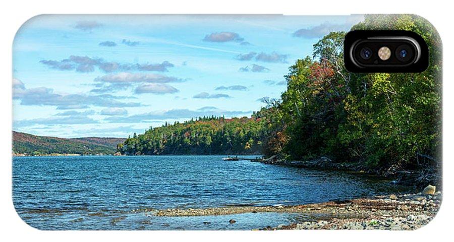 Autumn IPhone X Case featuring the digital art Bras D'or Lake, Cape Breton Nova Scotia, Canada by Ken Morris