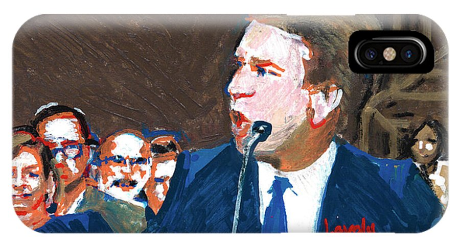Christine Blasey Ford Testifies Before Senate IPhone X Case featuring the painting Brett Kavanaugh Testifies Before Senate by Candace Lovely
