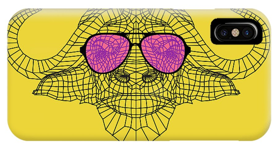 Buffalo IPhone X Case featuring the digital art Buffalo In Pink Glasses by Naxart Studio
