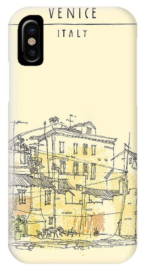 Building IPhone X Case featuring the digital art Canal Bank In Venice, Italy. Vertical by Babayuka