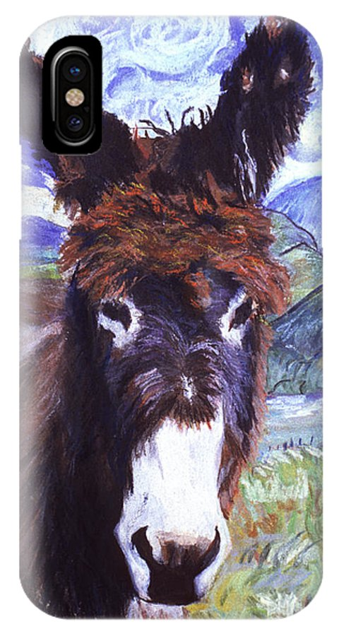Burro IPhone X Case featuring the painting Carrot Top by Pat Saunders-White