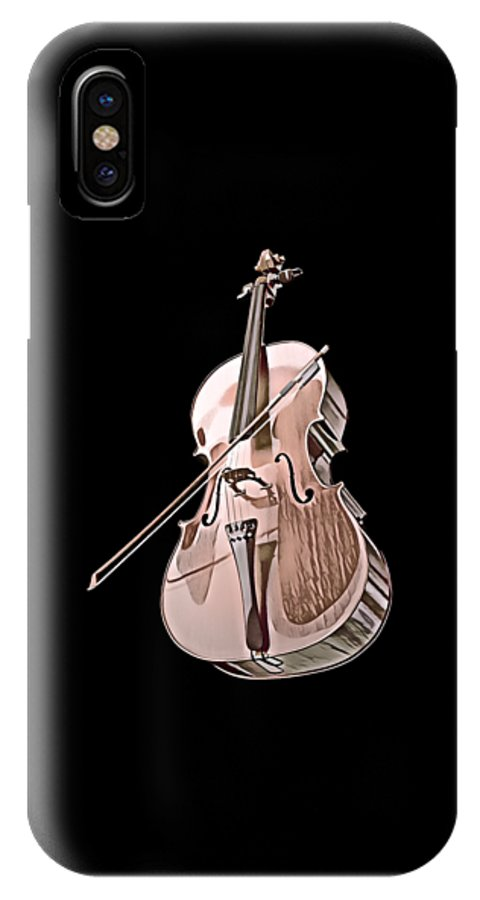 Cool IPhone X Case featuring the digital art Cello String Music Instrument Musician Color Designed by Super Katillz