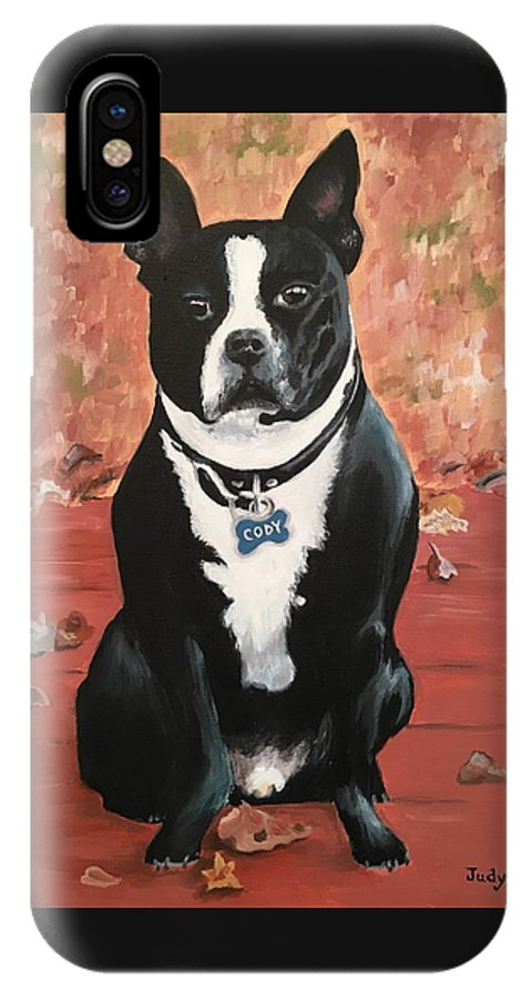 Dog IPhone X Case featuring the painting Cody by Judy Swerlick