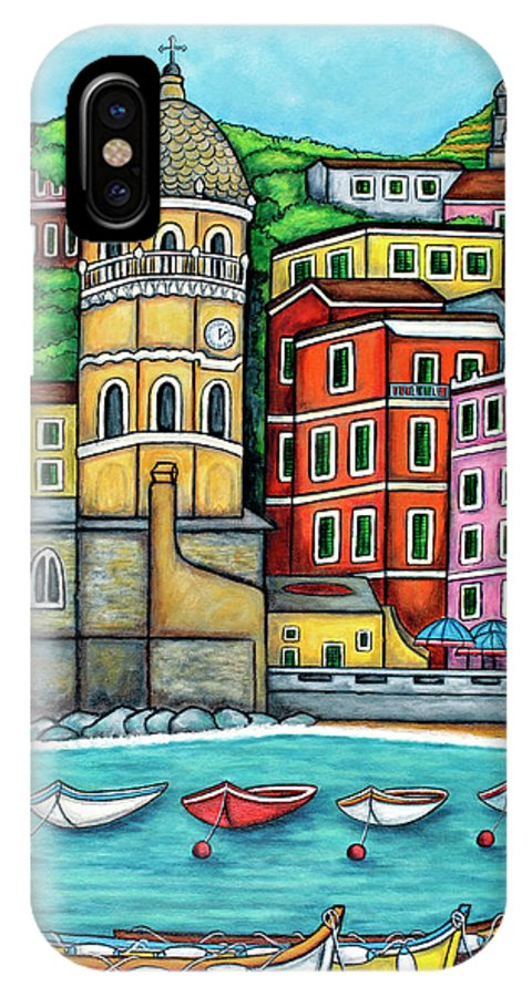 Italy IPhone X Case featuring the painting Colours of Vernazza by Lisa Lorenz