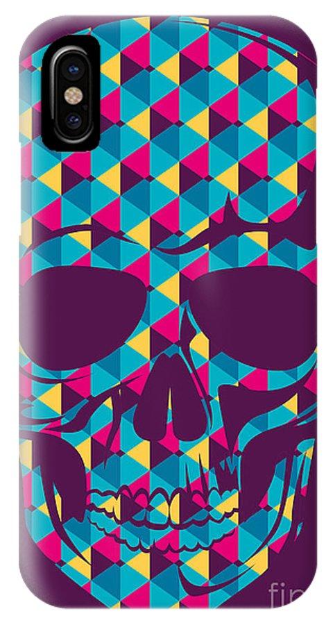 Symbol IPhone X Case featuring the digital art Conceptual Human Skull. Vector by Radoman Durkovic