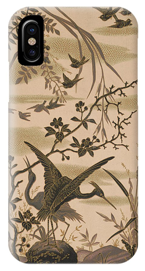 Crane IPhone X Case featuring the pyrography Cranes And Birds At Pond 1880 by Daniel Hagerman
