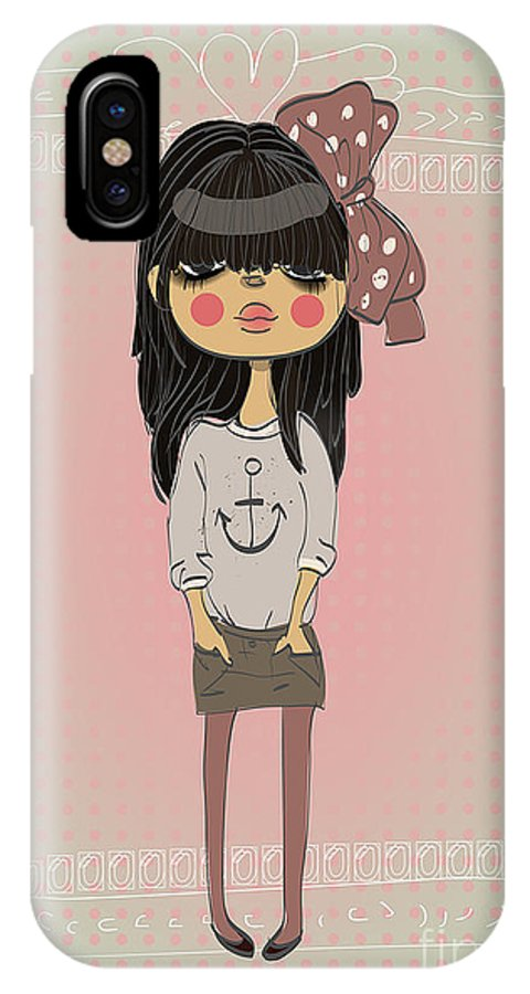 Play IPhone X Case featuring the digital art Cute Fashion Little Girl With Frame by Elena Barenbaum