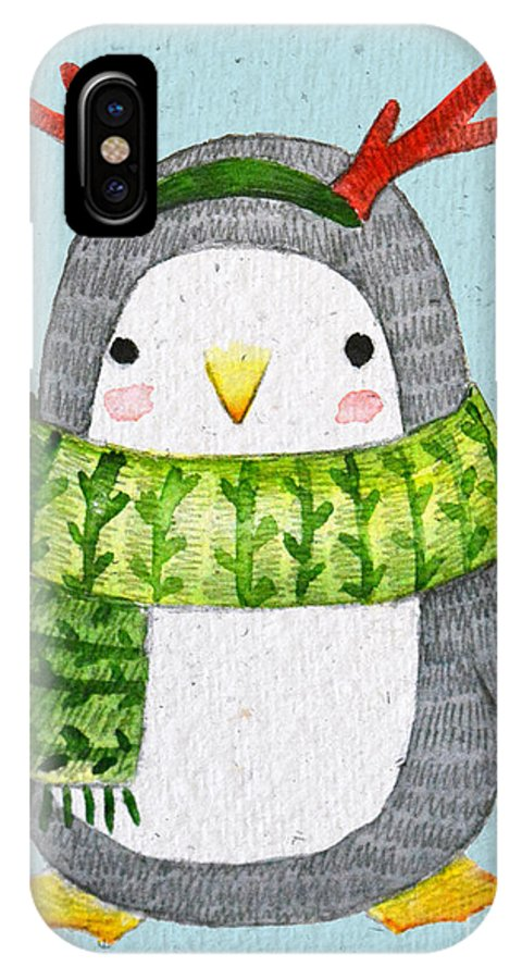 Year IPhone X Case featuring the digital art Cute Penguin In Scarf. Watercolor by Maria Sem