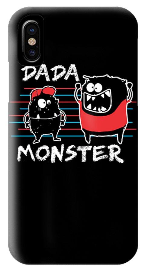 Halloween IPhone X Case featuring the digital art Dada Monster Cute Monster Cartoon For Kids And Dad Dark by Nikita Goel