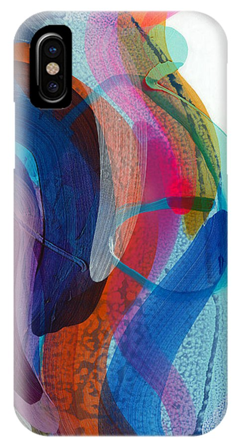 Abstract IPhone X Case featuring the painting Dancing In The Kitchen by Claire Desjardins
