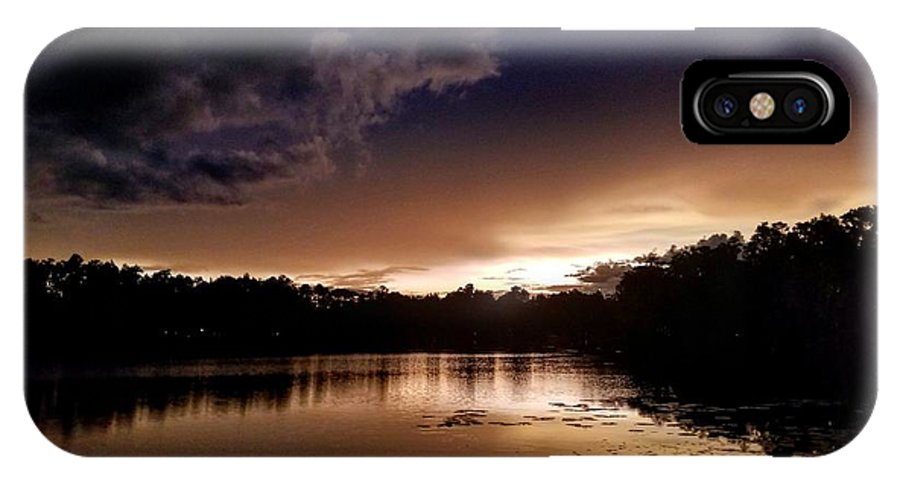 Sunset IPhone X Case featuring the photograph Dark Reflections by Shena Sanders
