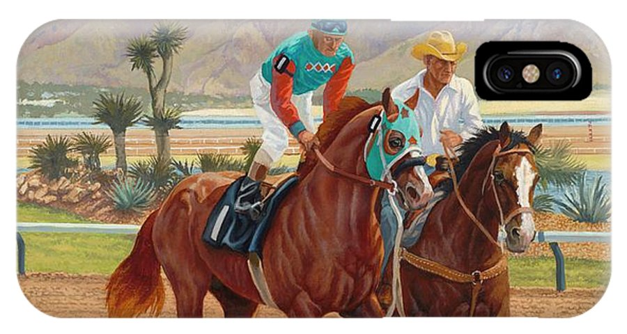 Quarter Horse Legend IPhone X Case featuring the painting Dash For Cash by Howard DUBOIS