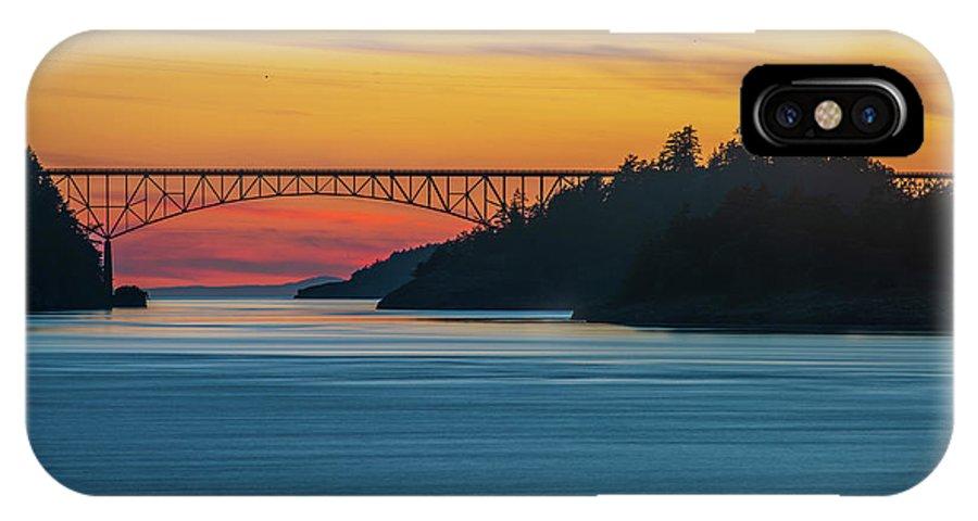 Washington State IPhone X Case featuring the photograph Deception Pass Bridge Sunset Light by Mike Reid