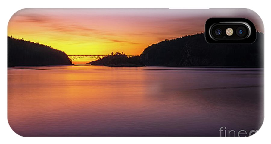 Washington Coast IPhone X Case featuring the photograph Deception Pass Sunset Serenity by Mike Reid