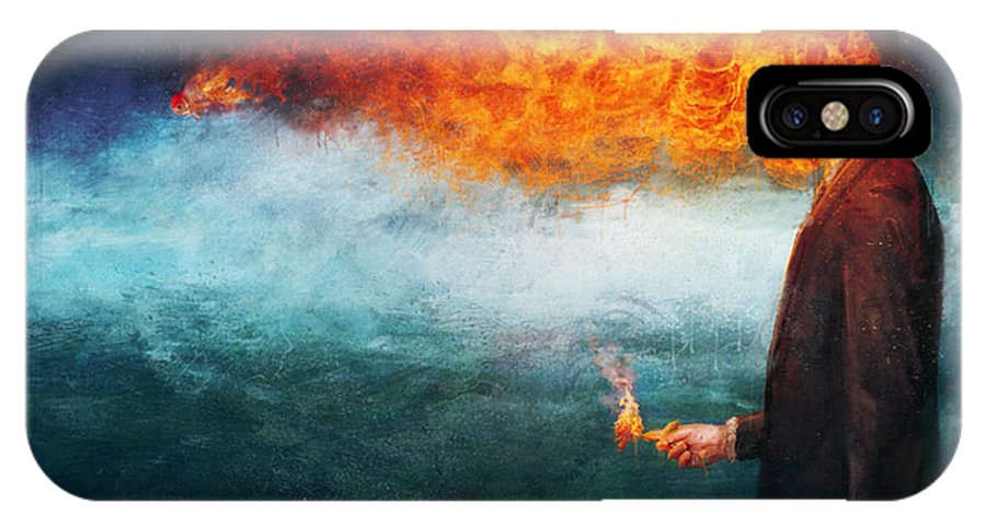 Fire IPhone X Case featuring the painting Deep by Mario Sanchez Nevado