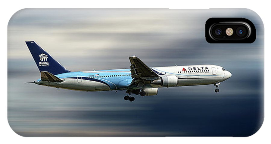 Delta IPhone X Case featuring the mixed media Delta Air Lines Boeing 767-332 by Smart Aviation