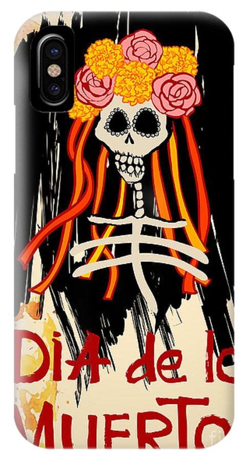 Symbol IPhone X Case featuring the digital art Dia De Los Muertos Day Of The Dead by Ajgul