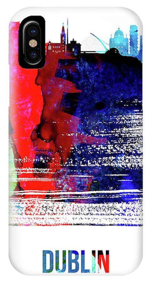 Dublin IPhone X Case featuring the mixed media Dublin Skyline Brush Stroke Watercolor  by Naxart Studio