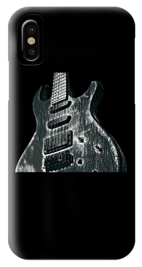 Cool IPhone X Case featuring the digital art Electric Guitar Musician Player Metal Rock Music Lead Black by Super Katillz