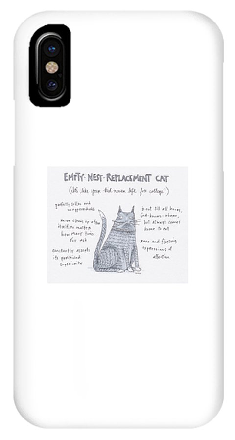 Captionless IPhone X Case featuring the drawing Empty Nest Replacement Cat by Teresa Burns Parkhurst