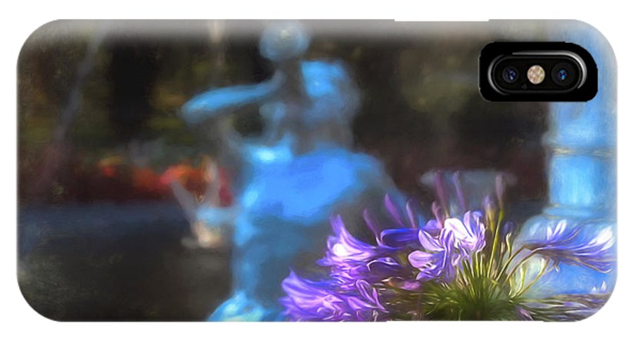 Forsyth IPhone X Case featuring the digital art Expressive Flower And Fountain At Forsyth Park by Amy Dundon