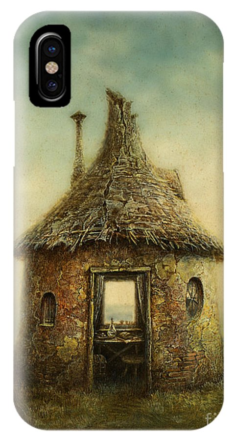 Small IPhone X Case featuring the digital art Fairy Tale House, Painted With Acrylic by Slava Gerj