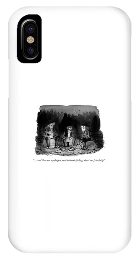 """""""...and Those Are My Deepest IPhone X Case featuring the drawing Feelings About Our Friendship by Kaamran Hafeez"""