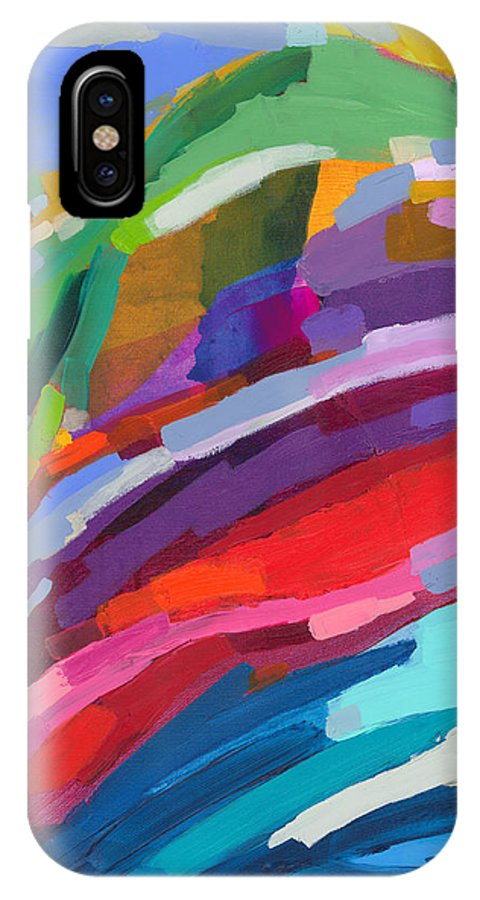 Abstract IPhone X Case featuring the painting Felicity by Claire Desjardins