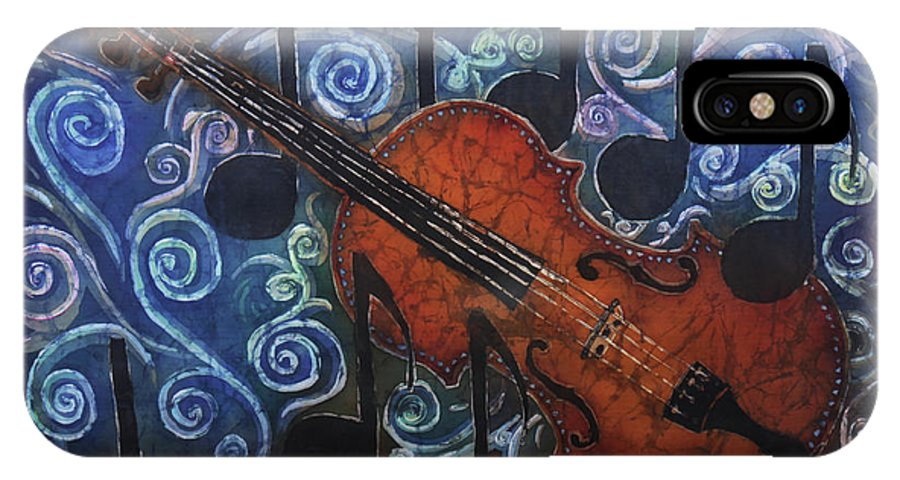Fiddle IPhone X Case featuring the painting Fiddle 1 by Sue Duda