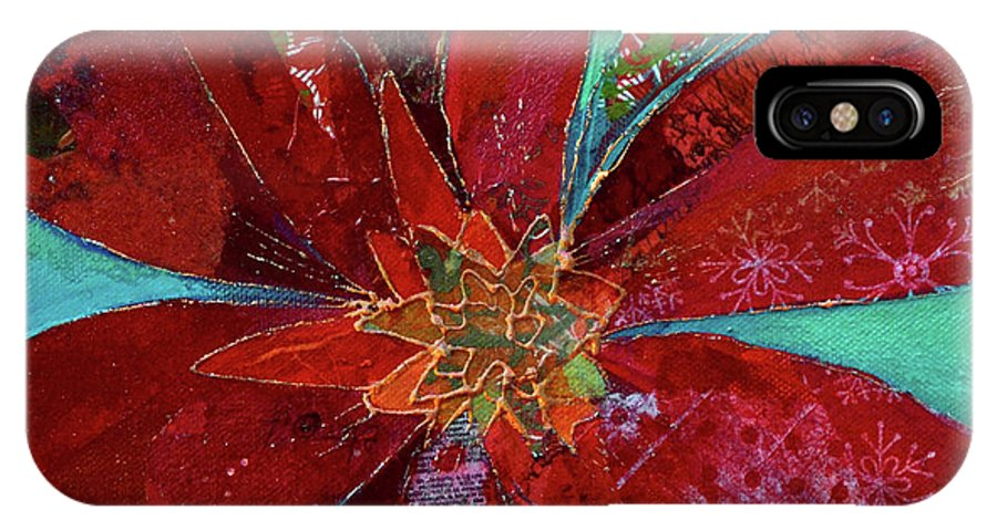Bromeliad IPhone X Case featuring the painting Fiery Bromeliad I by Shadia Derbyshire
