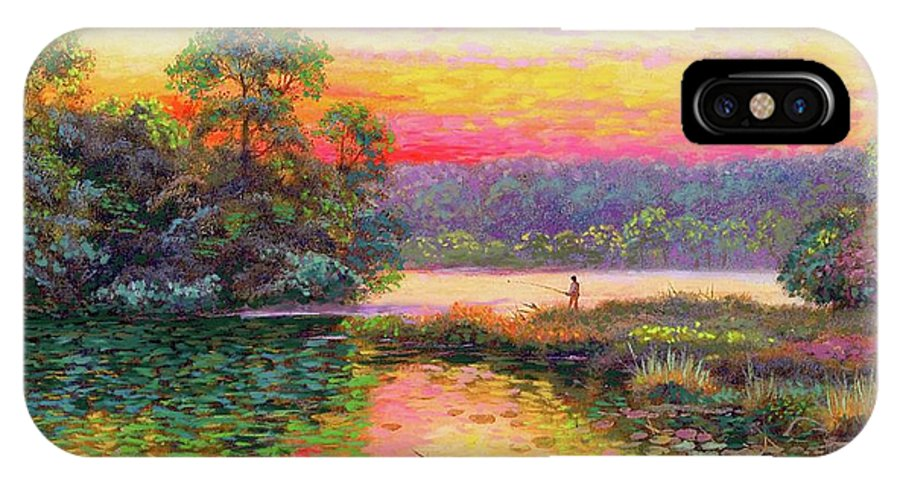 Sunset IPhone X Case featuring the painting Fishing In Evening Glow by Jane Small