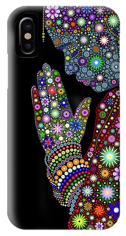 Flower IPhone X Case featuring the digital art Flower Prayer Girl by Tim Gainey