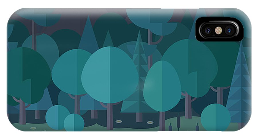 Magic IPhone X Case featuring the digital art Forest Landscape In A Flat Style In The by Art.tkach