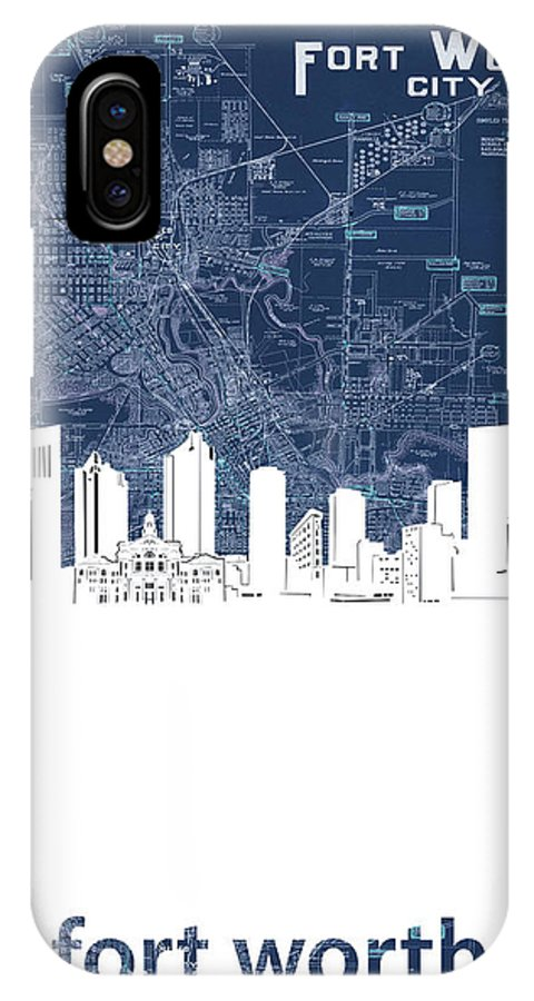 Fort Worth IPhone X Case featuring the digital art Fort Worth Skyline Map Blue by Bekim M
