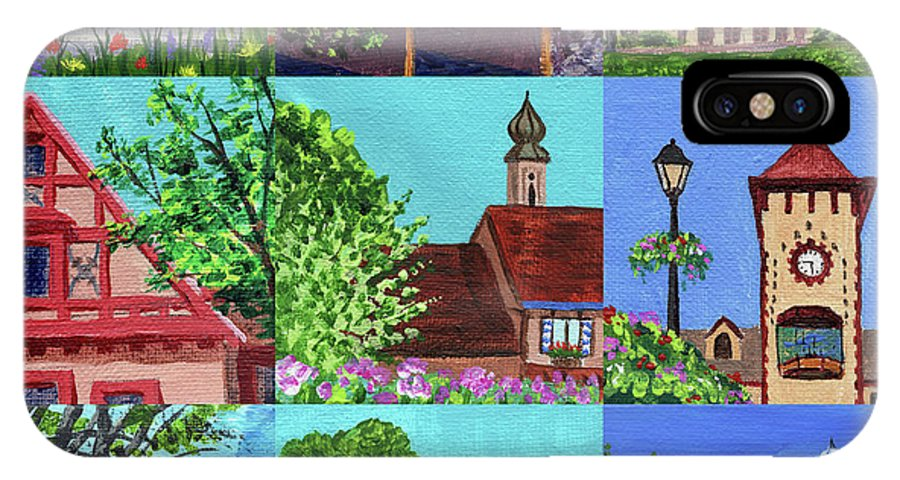 Frankenmuth IPhone X Case featuring the painting Frankenmuth Downtown Michigan Painting Collage V by Irina Sztukowski